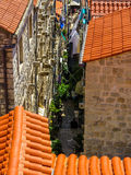 Narrow streets of Dubrovnik. A summer view of a narrow, uphill street in Dubrovnik, Croatia Royalty Free Stock Photography