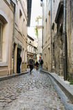 The narrow streets of the French town royalty free stock photo