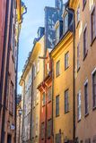 Narrow Streets of Gamla Stan Stockholm. A Picture of the Streets of Gamla Stan Stockholm With colourful Buiildings Royalty Free Stock Images