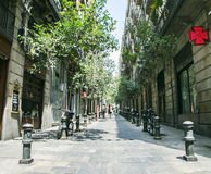 Narrow streets of the Gothic Quarter in Barcelona Royalty Free Stock Photos