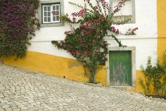 Narrow streets and green door in the village of Obidos founded by the Celts in 300 BC, Portugal Royalty Free Stock Images