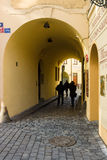 The narrow streets in the historic center of the Old Town of the Prague. Stock Photo