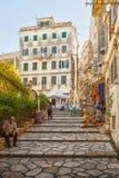 Narrow streets of historical city center of Kerkyra Royalty Free Stock Photography