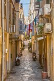 Narrow streets of historical city center of Kerkyra Stock Images