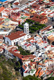 Narrow streets of historical town of Garachico. Belltower of Church of Saint Anna Iglesia de Santa Ana. The Garachico is an anci Royalty Free Stock Photography
