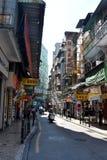 Narrow streets of Macau downtown Stock Image
