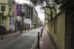 Narrow streets of Macau downtown Stock Images