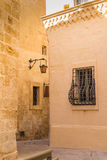 Narrow streets of Mdina, island Malta. Fusion of arabian and baroque architecture in the former capital of island Malta - Mdina, medieval fortress. Stone houses Royalty Free Stock Photography