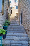 Narrow streets of Montenegro Stock Images