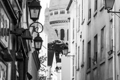 The narrow streets of Montmartre. Royalty Free Stock Photos