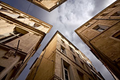 Narrow Streets of Montpellier. View from bottom the city Royalty Free Stock Photography