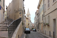 Narrow streets near Marseille port, France royalty free stock images