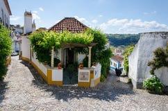 Narrow streets of Obidos, Portugal Royalty Free Stock Photos