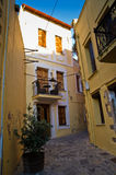Narrow streets at old city and harbor Rethymno, Crete Royalty Free Stock Image