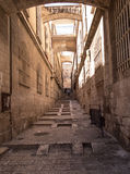 The narrow streets of the old city of Jerusalem Stock Photo