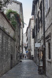 Narrow streets of the old city of Kotor always attract tourists Royalty Free Stock Images