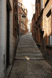 Narrow streets of old city Mons, Belgium Stock Photography