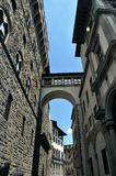 The narrow streets of the old of Cortona, with the transitions between the houses. royalty free stock photo