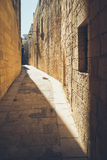 Narrow streets of the old Mdina. Typical architecture in Malta.  Royalty Free Stock Photos