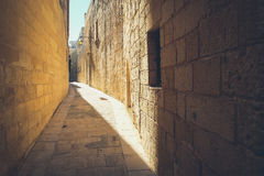Narrow streets of the old Mdina. Typical architecture in Malta Royalty Free Stock Photography