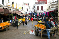 On the narrow streets of old Medina in Casablanca Royalty Free Stock Photography