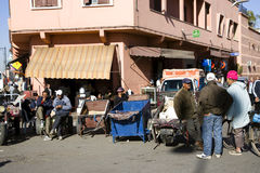 On the narrow streets of old Medina in Marrakech Royalty Free Stock Image