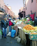 On the narrow streets of old Medina in Marrakesh, Morocco Royalty Free Stock Photo