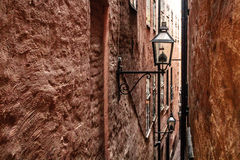 Narrow Streets of Old Town Gamla Stan in Stockholm, Sweden Royalty Free Stock Photos