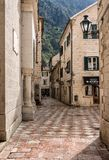 Narrow streets in the Old Town of Kotor in Montenegro stock photography