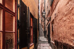 Narrow Streets of Old Town (Gamla Stan) in Stockholm, Sweden Stock Photo