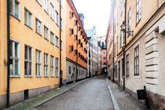 Narrow Streets of Old Town (Gamla Stan) in Stockholm, Sweden Royalty Free Stock Image
