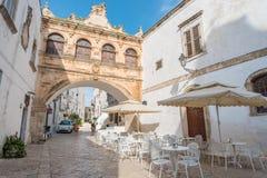 Narrow streets of Ostuni, Italy Stock Photo
