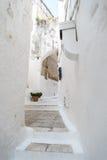 Narrow streets of Ostuni, Italy Stock Photography