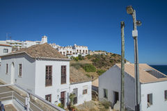 Narrow streets and painted white houses in burgau Stock Photography