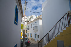 Narrow streets and painted white houses in burgau Royalty Free Stock Images
