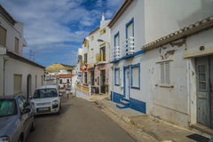 Narrow streets and painted white houses in burgau Royalty Free Stock Photography