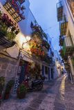 Narrow streets of Peniscola old town royalty free stock photography