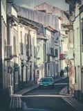 Narrow streets of Ponta Delgada Royalty Free Stock Photo