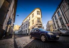 Narrow streets of Ponta Delgada royalty free stock image