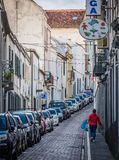 Narrow streets of Ponta Delgada Royalty Free Stock Images