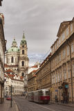 Narrow streets of Prague in the central part of the city Royalty Free Stock Photo