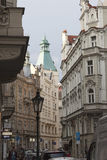 Narrow streets of Prague in the central part of the city Royalty Free Stock Image