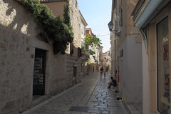 Narrow streets in Rab town Stock Photos