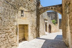Narrow streets of Rhodes old town Royalty Free Stock Images