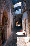 Narrow Streets of Rhodes old town Royalty Free Stock Photo