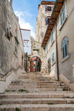 Narrow streets in Rovinj's medieval old town, Croatia Royalty Free Stock Photography