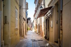 Narrow streets of Saint-Tropez old town royalty free stock image