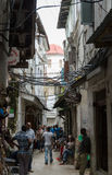 Narrow streets of Stone Town - main city of Zanzibar, old colonial province Royalty Free Stock Photos