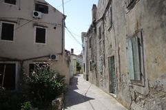 Narrow streets of Susak Royalty Free Stock Images
