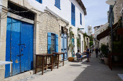 Narrow streets of Turkish quarter in old town,Limassol,Cyprus Stock Photo
